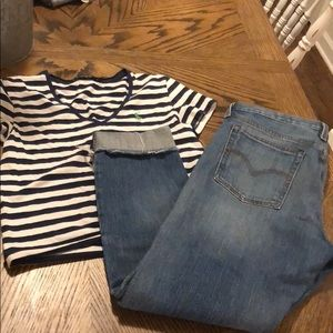 Levi's white oak jeans and Ralph Lauren crop top
